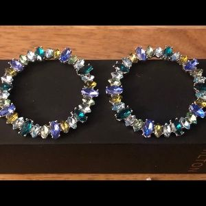 Blue & Clear turquoise and YellowvCircle Earrings